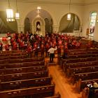 Rehearsing at Trinity Lutheran Church sanctuary