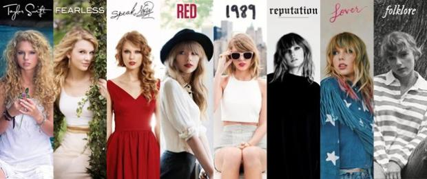 Taylor Swift over the years, now with Folklore