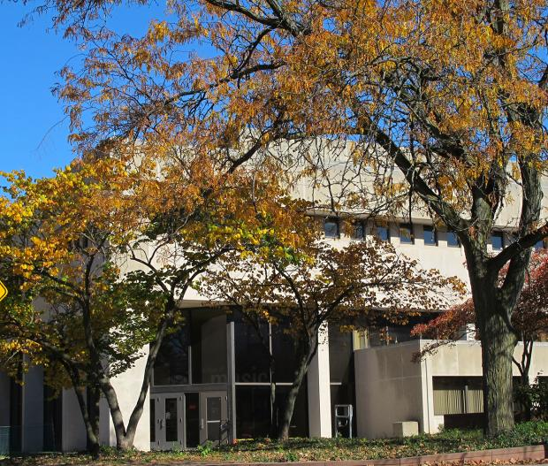 Autumn scene at Weigel Hall