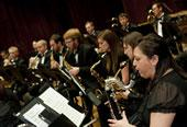 Saxophone section in performance