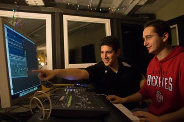 Students working in recording studio
