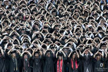 Graduating OSU students demonstrating the O in Ohio.