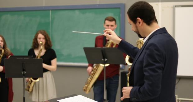 Saxo Ensemble in rehearsal