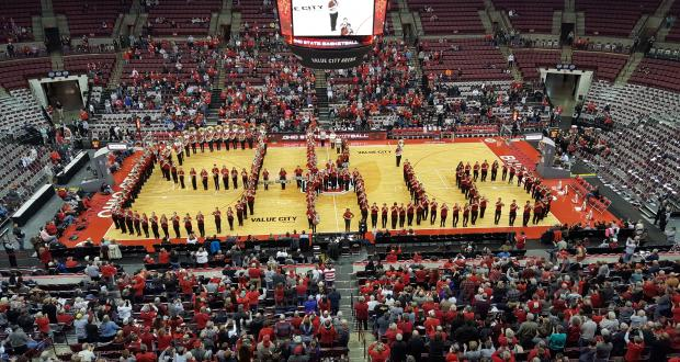 Athletic Band performs Script Ohio - Schottenstein Arena