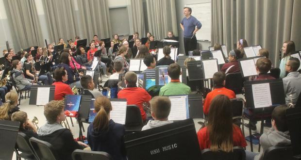 Middle School Honor Band 2019 rehearsal in Weigel Hall
