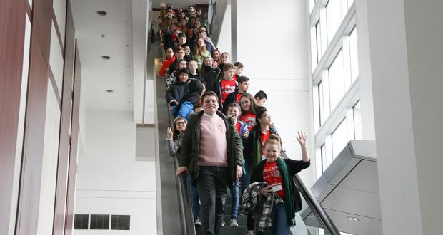 Middle School Honor Band group visits The Schott