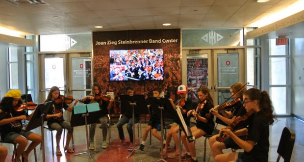 Morning Strings ensemble rehearsal in Ohio Stadium Band Center