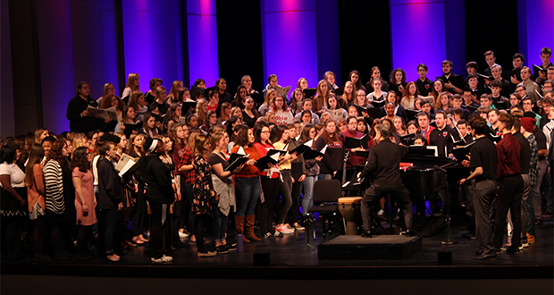 Singing with Men's Glee Club and Richmond High School choirs in Indiana