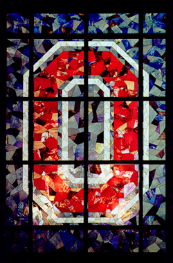 Block O stained glass window