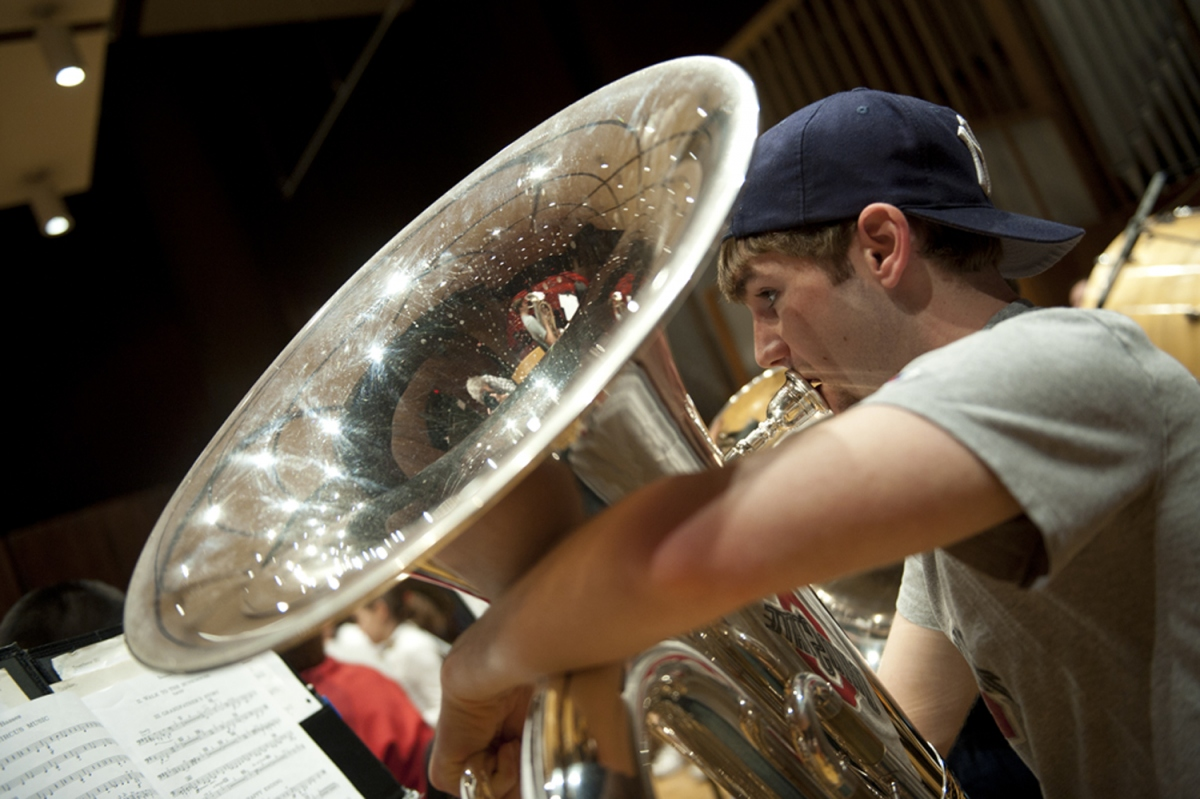 Student playing euphonium