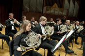 French horn section in performance