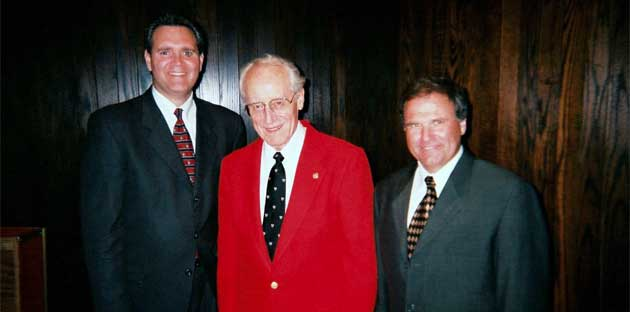 L-R: Russel Mikkelson, Donald McGinnis, Craig Kirchhoff, at the 2002 Concert Band Reunion.