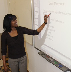 Dr. Jan Edwards at the Smartboard