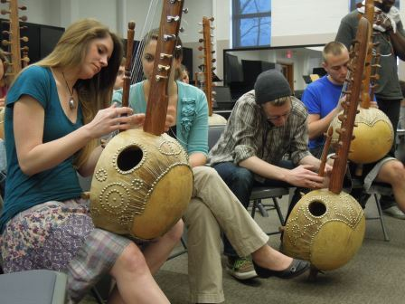 Ethnomusicology students playing the kora