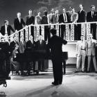 Men's Glee Club 1958 in film studio.