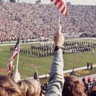 The 1969 Men's Glee Club performs at the Rose Bowl.