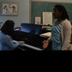 Daina Robinson practicing with Prof. Loretta Robinson. Photo courtesy of Anna Oberla.