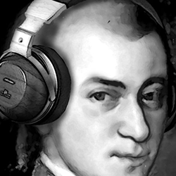 Mozart with headphones (image from Joytunes.com)