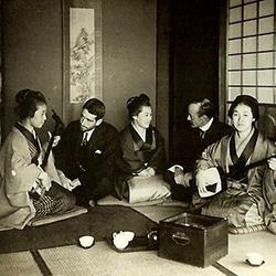 Western travelers listen to Meiji-era Japanese musicians