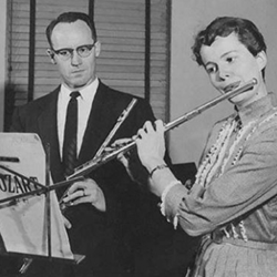 Kay in flute studio with Donald McGinnis (1958)