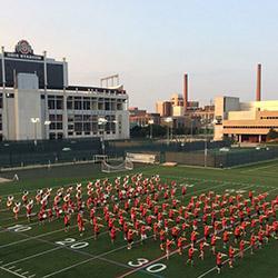Marching Band rehearsing near Ohio Stadium