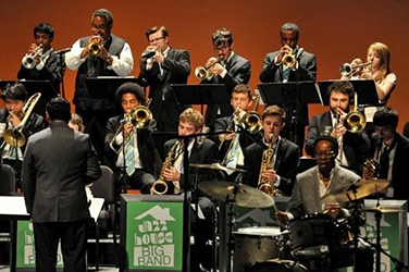 Sayre with Jazz House Big Band - Jon Faddis in back row, 2nd left