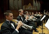 Trumpet section in performance