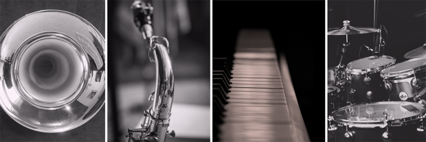 Trumpet, sax, piano, drums