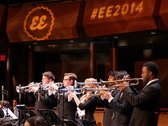 Sayre with Jazz House Big Band trumpet section at Essentially Ellington