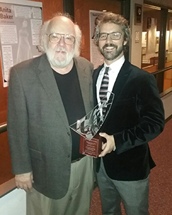 McIntosh receives 50-year award (2017); with Kris Keith, Jazz Ensemble director