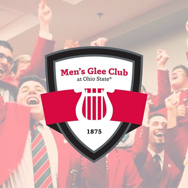 Men's Glee Club logo superimposed on a picture of members celebrating