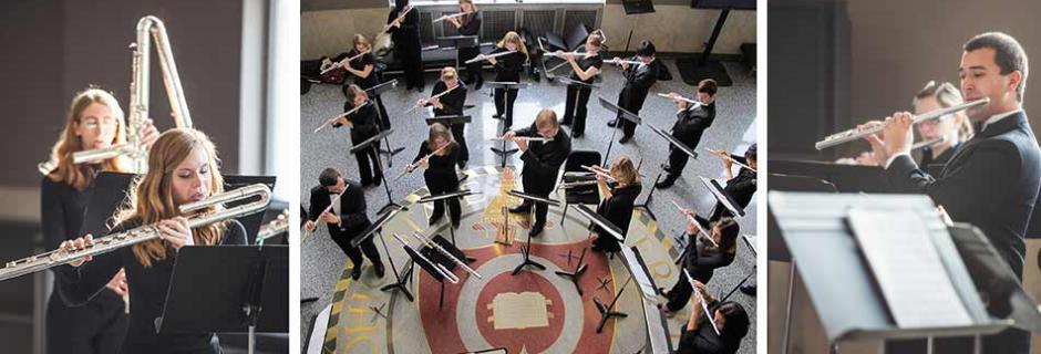 Flute Studio students in concert, three images
