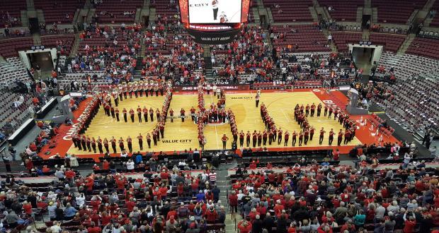 Athletic Band performs Script Ohio - Schottenstein Arena