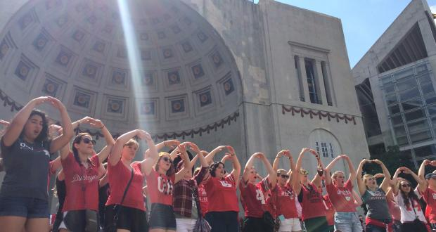 Women's Glee Club performs at tailgate parties and The Shoe on Game Day