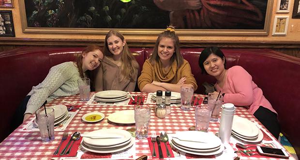 Enjoying dinner together