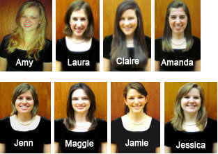OSU Women's Glee Club Officers 2011 - 12 (top row) Amy, Laura, Claire, Amanda (bottom row) Jenn, Maggie, Jamie, Jessica